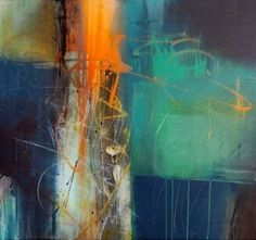 Stephen Haigh. Here is a creative use of color,design and composition to create a finished painting that is not 'over-worked!' #abstractart