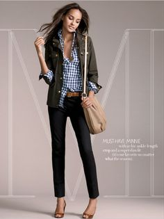 JCrew, last season? Still rock this look often.  Minnie pants, gigham shirt, downtown field jacket.