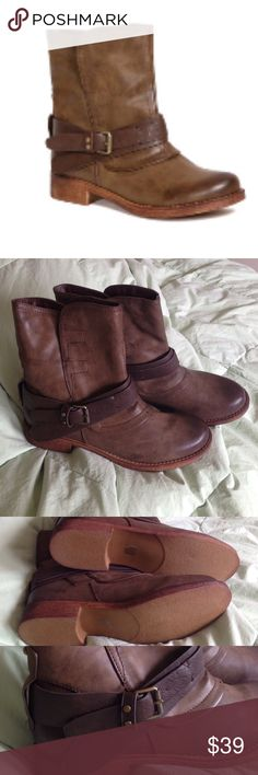 SWEET SALE Taupe Mandoin Ankle Boot It's like brand new. Brought but never worn. No box. Belt loop. Brown with taupe. Pull up. Ankle. One picture of back - there is one chip off. (36) Bucco Shoes Ankle Boots & Booties