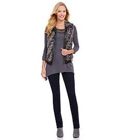 Multiples Animal-Print Faux-Fur & Faux-Leather Vest