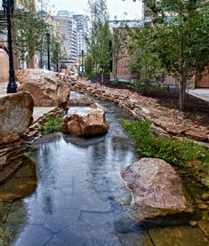 City Creek Center in Utah features City Creek, long forced underground, reengineered to drop a total of 40 feet through rocky waterfalls.