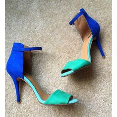 Zara blue and green heels  size 8 Zara blue and green heels  size 8 worn twice for a photo shoot in Hollywood, CA☀️ they are overall In good condition just a little dirty from the shoot and heels also have cracking scuffs on right and left heel (see third pic) heels are very popular they are known as Zara color block heels and Zara mint and blue heels. All things from my closest come from a smoke free home and have been handled with TLC  Zara Shoes Heels