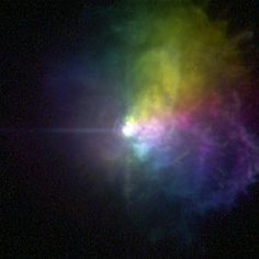 This picture taken by the Hubble Space Telescope shows the polarized light of the massive star VY Canis Majoris. Image Credit: NASA, ESA, and R. Humphreys (University of Minnesota) Telescope Images, Hubble Space Telescope, Space And Astronomy, Cosmos, Astronomy Pictures, Picture Albums, Pictures Of The Week, Dark Matter, To Infinity And Beyond