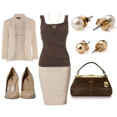 Brown and beige office outfit