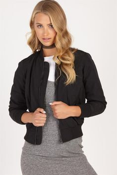 <p>The Bridget Bomber Jacket <br /> <br /> This is a seriously cool layering piece you can rock all year round. Work it for day with skinny jeans and sneakers, or throw it over a glam two-piece to edge up your party look. <br /> <br /> - Zip front closure <br /> - Front pockets <br /> - Cuffed hem and sleeve bands <br /> - Available in black & pink <br /> 100% Polyester.<br /> Model ...
