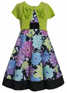 1ee08acf6b6 Bonnie Jean Little Girls  Floral and Dot Lime Cardigan Dress WITH BRACELET  FOR MOM. This floral print dress features a fit and flare silhouette and  comes ...