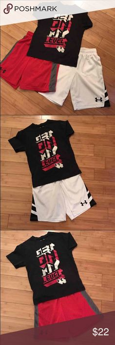 Boys Under Armour Boys Under Armour bundle.  Two pairs of shorts and one shirt.  All size small in used condition, but LOTS of wear left!  Two great outfits for one low price.  Fits like a size 8. Under Armour Matching Sets