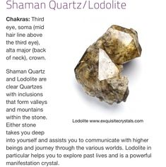 Shaman Quartz/ Lodolite Crystal Uses, Crystal Magic, Crystal Healing, Chakra Healing, Chakra Crystals, Crystals And Gemstones, Stones And Crystals, Root Chakra Stones, Healing Stones