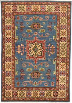 Blue 3' 4 x 4' 10 Geometric Kazak Oriental Rug   Oriental Rugs   eSaleRugs