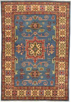 Blue 3' 4 x 4' 10 Geometric Kazak Oriental Rug | Oriental Rugs | eSaleRugs