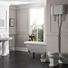 Tavistock Vitoria Details The Vitoria range has an elegant and timeless design. The classic bathroom pan has been teamed with the Vitoria high level cistern creating a beautifully traditional styled bathroom toilet, perfect for the traditiona Cheap Bathroom Suites, Wc Bathroom, Small Bathroom, Bathrooms, Bathroom Ideas, Cloakroom Ideas, Bathroom Inspo, Victorian Toilet, Victorian Bathroom