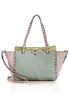 Trapezoid style plus studs. A Saks bestsetter. Valentino Rockstud Small Watercolor Colorblock Tote