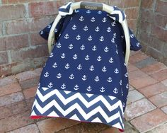 Anchors & Chevron Baby Car Seat Canopy Cover in Navy and white; Nautical Car Seat Cover; Red Minky Dimple Dot; Car Seat Tent Cover; Blanket by ChristyRaynDesigns on Etsy