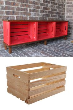 21 easy DIY benches: best tutorials & free plans for upholstered or wood benches with back, outdoor garden benches, IKEA hack & storage crate bench ideas! Ikea Hack Storage, Diy Storage Bench, Crate Storage, Storage Ideas, Firewood Shed, Firewood Storage, Outdoor Firewood Rack, Wood Bench With Back, Diy Wood Bench