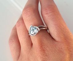 Custom Aquamarine and Diamond Halo Ring Pear Shaped Diamond, Halo Diamond, Halo Rings, Shank, Turning, Heart Ring, Awards, Dream Wedding, White Gold