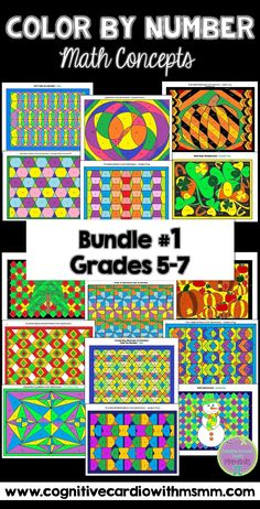 Engaging set of color by number activities for math concepts, grades 5-7.
