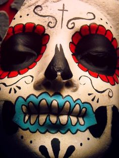 Dia De Los Muertos favourites by on deviantART Sugar Skull Face, Sugar Skull Makeup, Mexico Day Of The Dead, All Souls Day, Mexican Holiday, All Saints Day, Mexican Folk Art, Halloween Skull, Deviantart