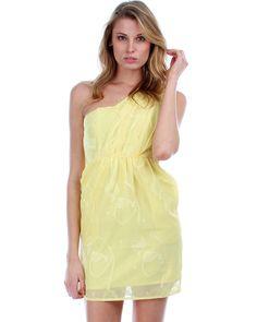 Las Flores Mesa Yellow One Shoulder Flower Print Cocktail Dress