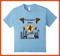 Kids 4th Fourth four 4 year old happy birthday boy police t shirt 6 Baby Blue - Birthday shirts (*Partner-Link)