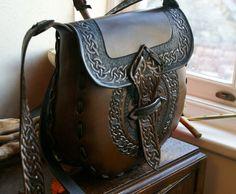 Leather Handbag-Celtic Leather Handbag-Tooled Leather Handbag-Leather Handbags Celtic Knotwork-Tooled Purse Handbag Hipbag-Leather Hipbags-. $275.00, via Etsy.