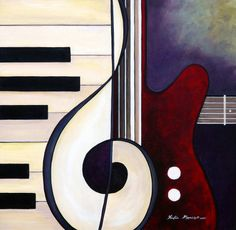 Musical Pieces - Guitar Piano Duet Fine Art Giclee Photographic Print at Artist Rising. Artist Rising is the premier destination for discovering original art, fine art and photography prints, and limited edition art by living artists. Bd Art, Music Painting, Abstract Paintings, Painting Art, Body Painting, Guitar Art, Acoustic Guitar, Arte Pop, Music Lovers