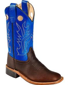 Kids Girls Pink Dark Brown Plain Leather Western Cowgirl Boots Rodeo Square Toe