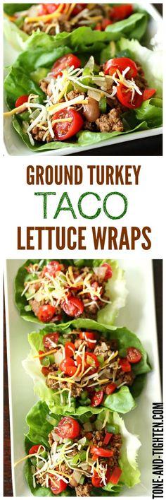 Turkey Taco Lettuce Wraps   Recipe   Taco Lettuce Wraps, Turkey Tacos ...