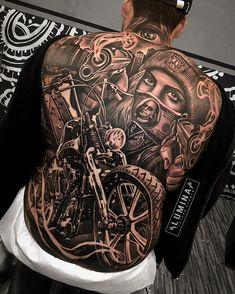 I love Harley Davidson Motorcycles Tattoos. Gangster Tattoos, Biker Tattoos, Motorcycle Tattoos, Tattoos Skull, Body Art Tattoos, Men Tattoos, Dragon Tattoos, Tattoo Women, Chicano Tattoos Sleeve