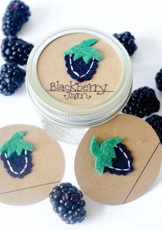 Mason Jar Gift Label: 12 Felt BLACKBERRY Birthday Tags - Regular or Wide Mouth Canning Labels. $15.00, via Etsy.