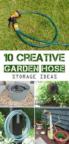 Cool Storage Ideas for the garden hose #Gardening