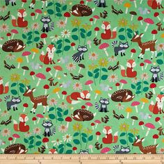 Let's Get Nutty Forest Critters Green from @fabricdotcom  Designed for Timeless Treasures, this cotton print fabric is perfect for quilting, apparel, and home decor accents. Colors include black, red, cream, shades of grey, shades of brown, shades of orange, shades of pink, and shades of green.