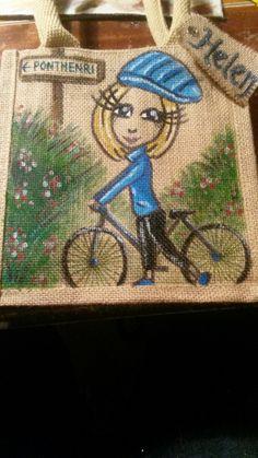 On yet bike - small jute bag