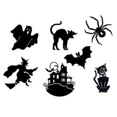 Halloween - View All - Halloween Icon Silhouettes Wafer Paper, Set of 40