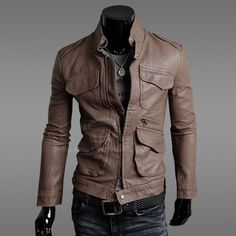 New Korean Casual Style Leather Four Pockets Coat For Men (BLACK,M) | Everbuying.com