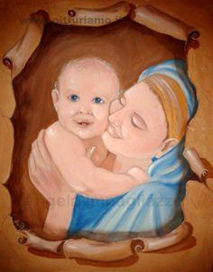 quadro realizzato dal pittore contemporaneo ANGELAIMPAGLIAZZO - Maternità