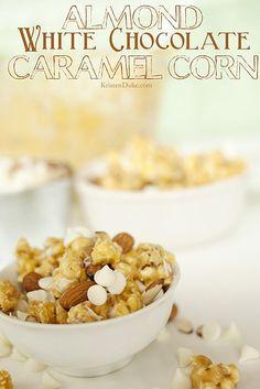 Almond White Chocolate Caramel Corn. Delicious snack idea!