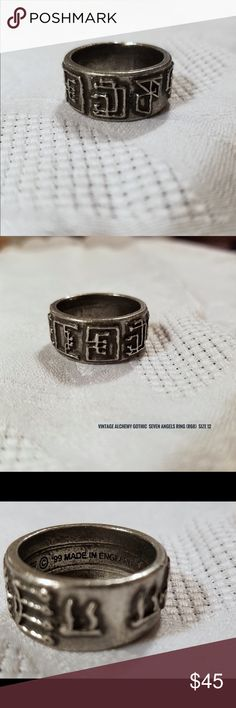 """Vintage Alchemy Gothic """"Seven Angels"""" Ring Size 12 Genuine Vintage/Retired Alchemy Gothic Seven Angels Ring Size 12 ((New)) circa 1999  Size: 12  This is a NEW (never used, worn, displayed) Alchemy Gothic of England Vintage/Retired Pewter ring size 12 only.  Made in the UK with fine English Pewter (heavy) AG is known for the gothic trademarked skulls, skeletons & more darkly divine creatures of the underworld, the night & even the darkest sides of life and death Alchemy Gothic has become so…"""