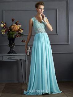 A-Line/Princess Sleeveless Straps Lace Floor-Length Chiffon Dresses - Prom Dresses - Occasion Dresses - QueenaBelle.com