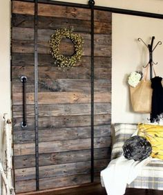 Barn Doors Barn Door Track The Glass Door Store. Barn Doors For Closets That Present Rustic Outlooks In . Sliding Partition Doors Ideas Pictures Remodel And Decor. Finding Best Ideas for your Building Anything Wood Barn Door, Barn Door Track, Wooden Doors, Rustic Barn Doors, Barn Door In House, Diy Pallet Projects, Home Projects, Pallet Crafts, Pallet Ideas