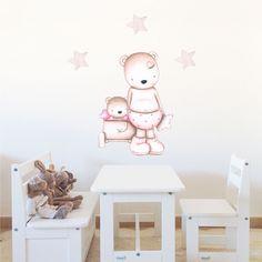 Decoración infantil Il Mondo di Alex, Vinilos - Stickers efecto pintado a mano, OSITA CON CARRITO II... personalizado con nombre y a medida.