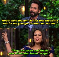 """18 Hilarious Moments From Shahid Kapoor And Mira Rajput's """"Koffee With Karan"""" Episode Bollywood Funny, Bollywood Girls, Bollywood Celebrities, Friendship Captions, Latest Funny Jokes, Koffee With Karan, Mira Rajput, Lol Text, Shahid Kapoor"""
