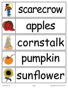 40 FREE Fall Word Wall Words! These fun fall themed words like scarecrow, apples, cornstalk, pumpkin, and sunflower plus thirty five others are perfect for kindergarten and first grade literacy centers, matching games and more. Get all 40 printable fall word wall words here --> http://www.mpmschoolsupplies.com/ideas/7750/40-fall-word-wall-words-free-printable/