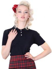 Collectif Freddie knitted top black | Blousjes en Tops | Miss Vintage | Retro, vintage geïnspireerde dames kleding