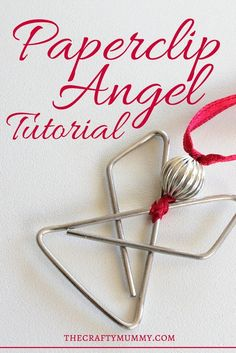 Make this simple elegant angel from a butterfly paperclip, a bead, & some ribbon!