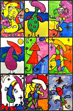 Joan Miro -The focus here is creating lines that form shapes and being able to express yourself through line and color. It's really empowering for children to create a work of art that resembles nothing familiar.
