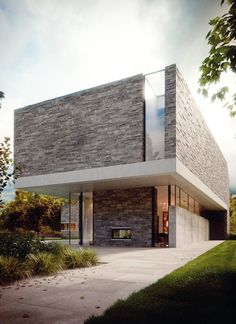 Exterior - Love the glass and stone