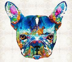 Colorful French Bulldog Dog Art By Sharon Cummings by Sharon Cummings