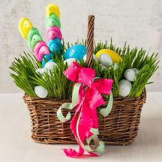 Rye Grass Easter Basket - 25 Easy Spring Decorating Ideas We're DIYing this Weekend - Southernliving. Imagine their surprise when they wake up on Easter morning to these Easter baskets stuffed with sweet treats. Get the tutorial here.