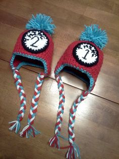 Dr Seuss Thing 1 Thing 2 Crochet hat set by jackiedye on Etsy, $32.00