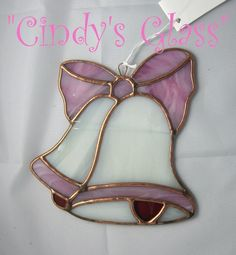 """Stained Glass Pink Wedding Bells by CindysGlass on Etsy  This is a completely handmade stained glass wedding bells. The perfect and unusual gift to give to the happy couple for their wedding or anniversary. The size is approximately 5 1/4"""" x 5 51/2""""."""